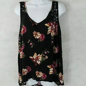 Plus-sized lace and floral hi-lo tank by Ambience